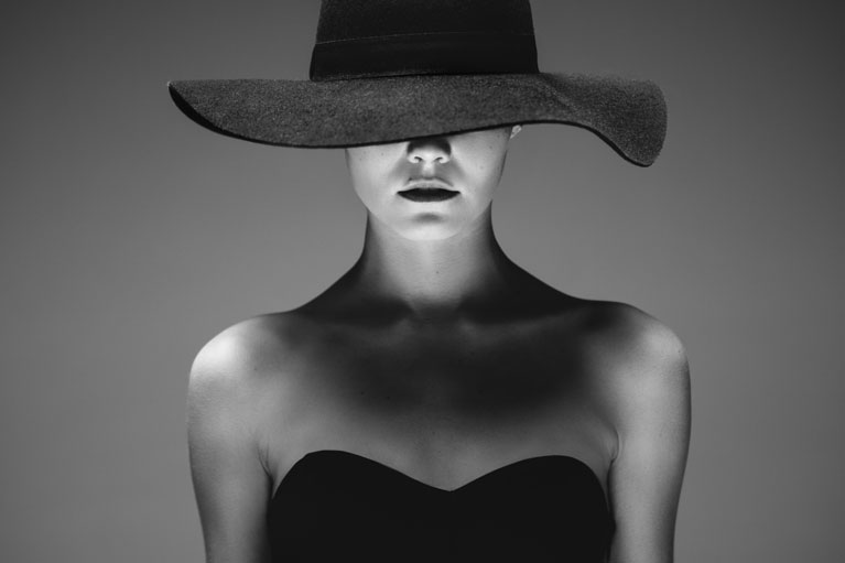 A picture of a women in black and white